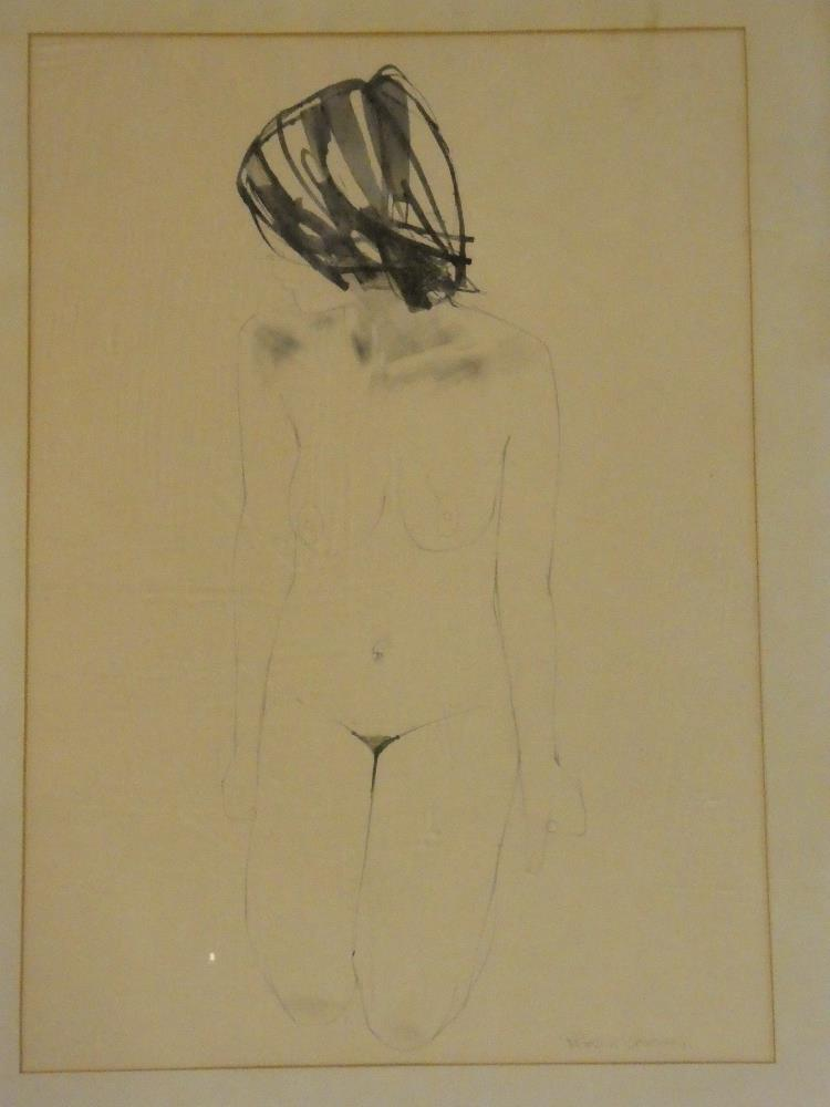 Patrick O'Regan - watercolour/ink Study of a kneeling nude female, signed,