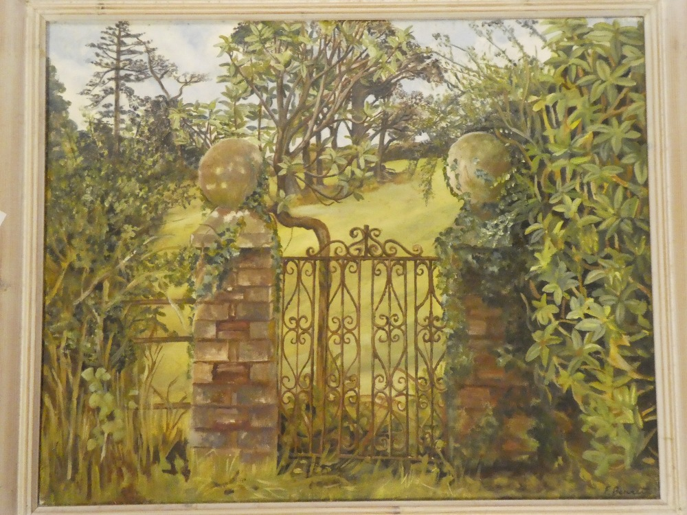 F Bennett - oil on canvas Garden gate scene, signed,