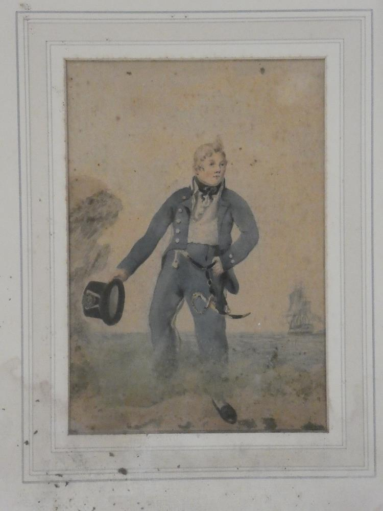 Artist Unknown - watercolour A young midshipman on the shore with ship in the distance,