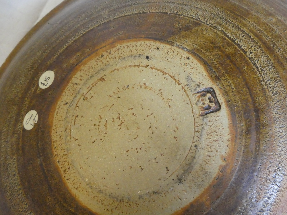 A Studio pottery brown glazed circular bowl by B Picard, Mousehole Pottery, - Image 2 of 2