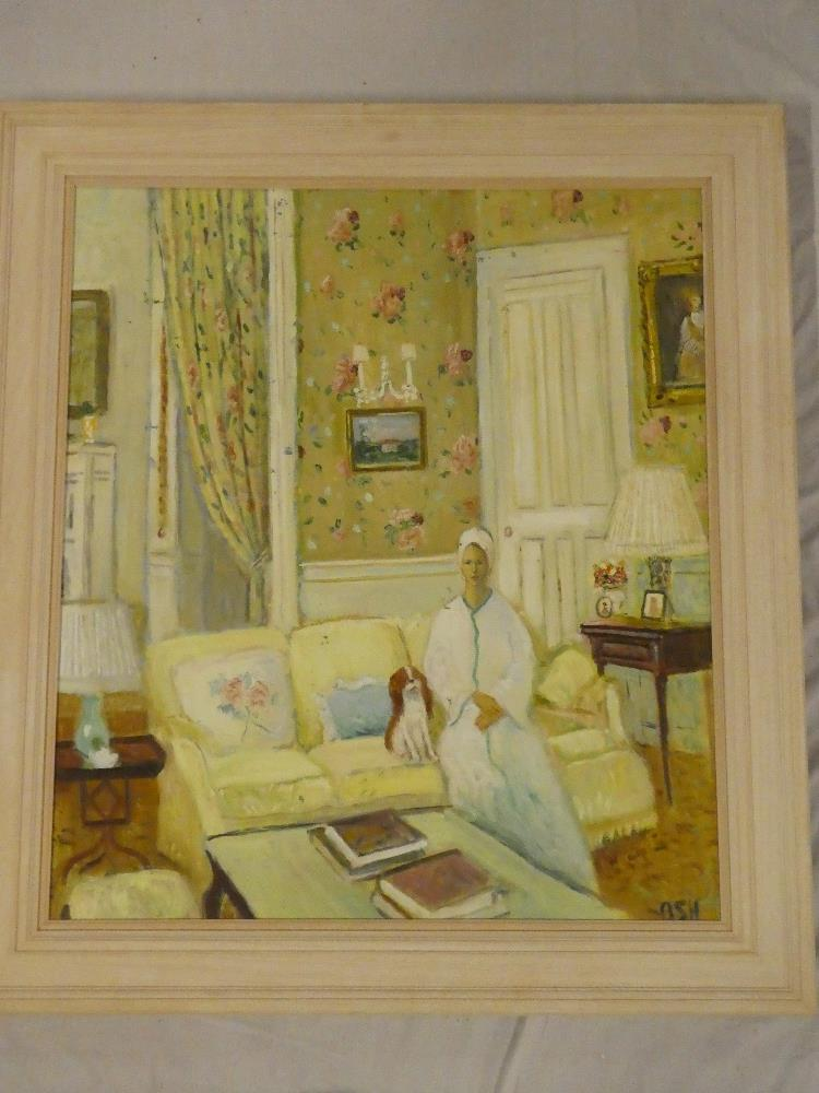 John Ash - oil on canvas Lady with her dog in an interior, signed,