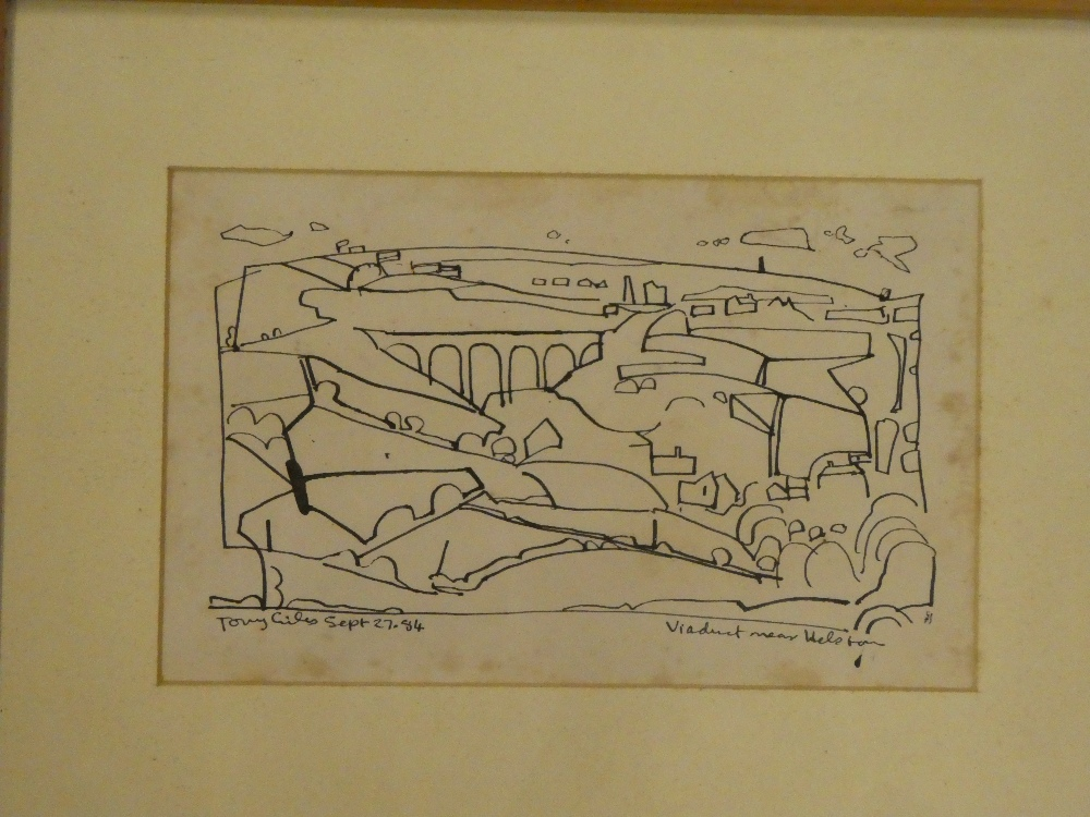 """Tony Giles - pen and ink """"Viaduct near Helston"""", signed and dated '84,"""