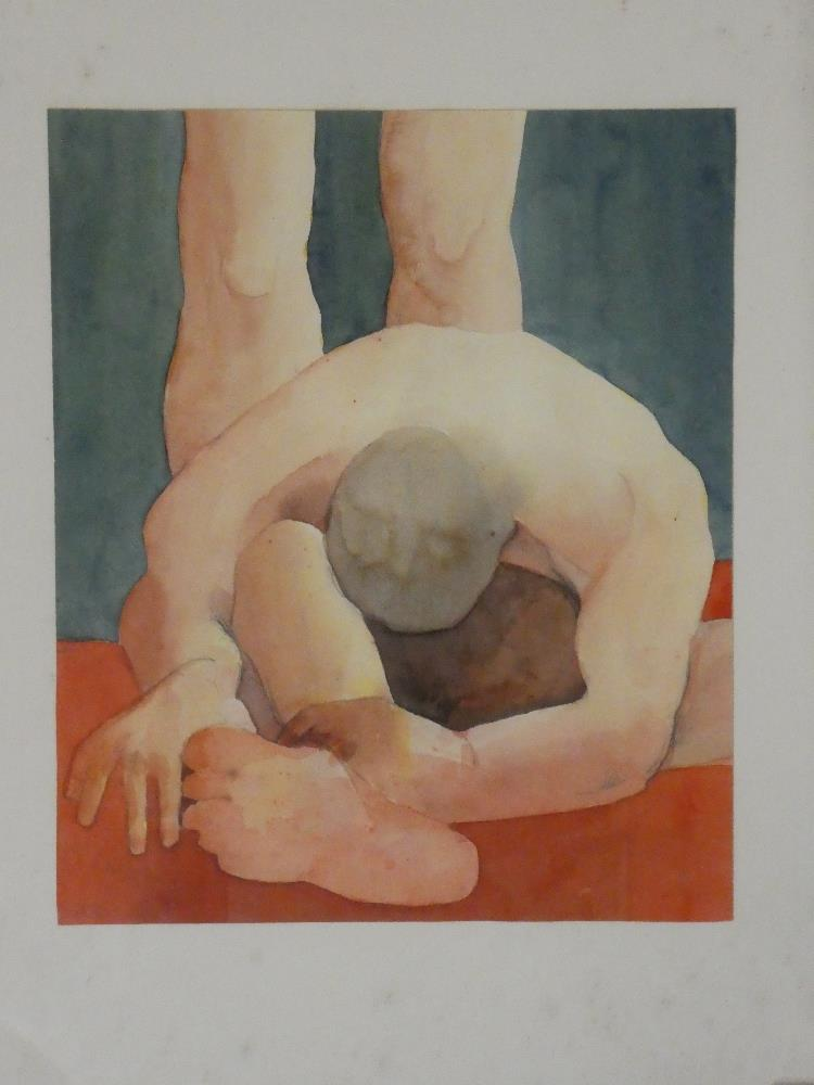 "Colin Scott - watercolour ""The Wrestlers"", signed with initials, inscribed to verso,"
