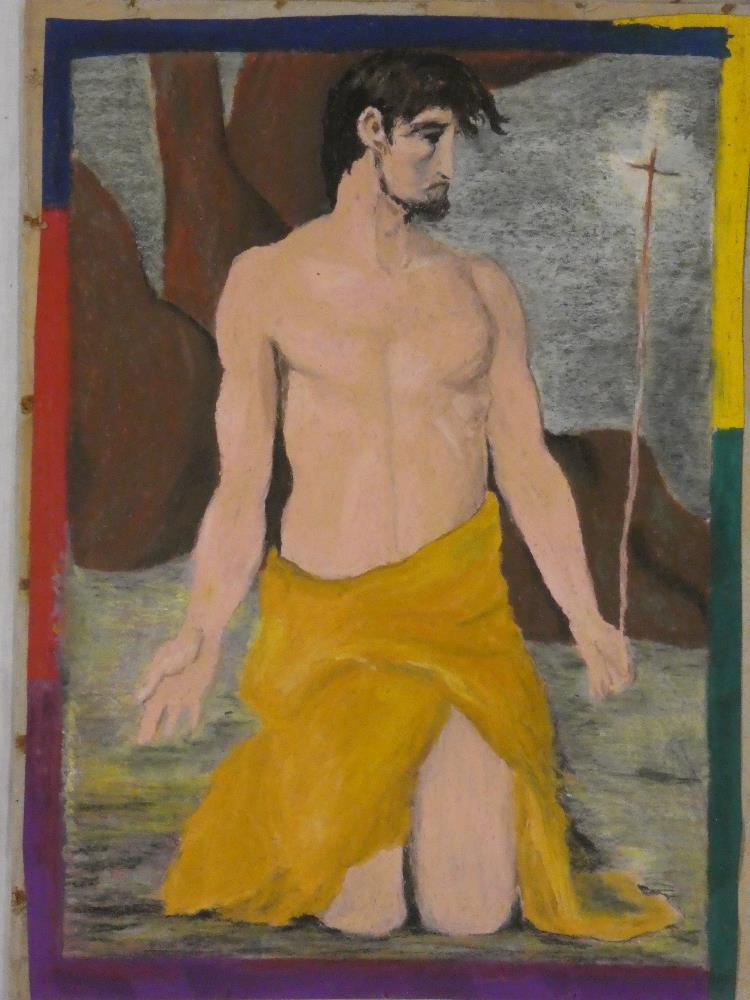 """Tim Newman - oil pastel """"Icon"""", inscribed to verso,"""