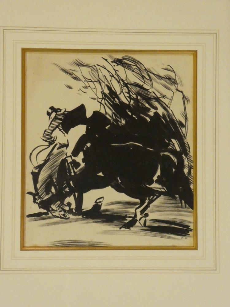 Charles Simpson - pen and ink Horse and rider, signed with initials,