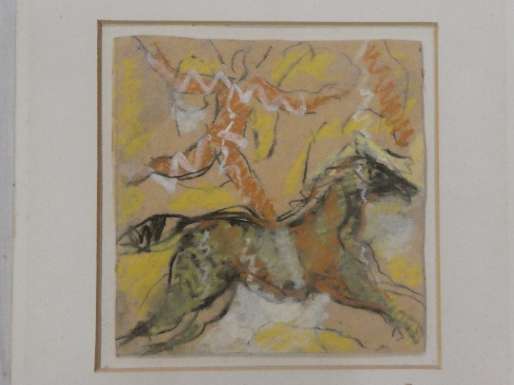 Rose Hilton - pastel Study of a figure and horse, signed with initials, inscribed to verso,