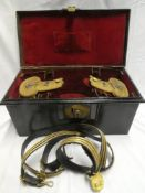 A post 1902 Royal Naval Officer's gold braid sword belt with straps and pair of bullion epaulettes