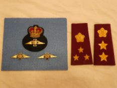 An RAF Chaplain's Queens crown enamelled cap badge together with matching collars and a pair of