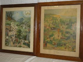 Two coloured religious prints including The Pilgrims Journey to the Celestrial City (2)