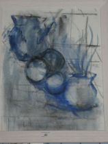 Ken Paine - watercolour Abstract study of jugs and fruit, inscribed to verso,