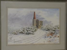 """Donald Jackson - watercolour """"Snow at Phoenix """"- Mine Stack near Minions, signed, labelled to verso,"""