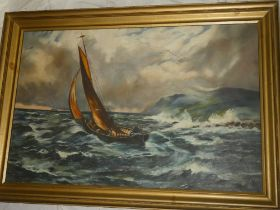 Artist Unknown - oil on canvas Fishing boat off the coast,