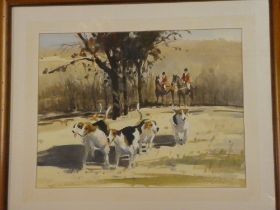 """W** Norman-Gaunt - watercolour Huntsmen with hounds """"A November Day in the Back Woods"""", signed,"""