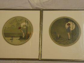 A pair of circular coloured prints depicting children,