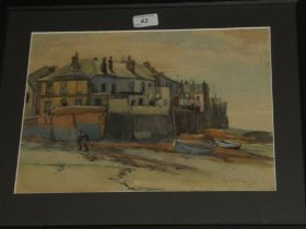 Artist Unknown - watercolour Coastal cottages, indistinctly signed,