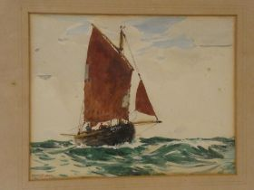 """Ernest Dade - watercolour """"Brighton Fishing Smack"""", signed, labelled to verso,"""