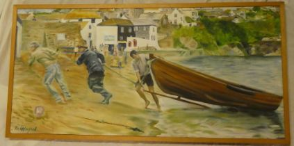 Kim Appleyard - oil on board St Mawes coastal scene with figures pulling a boat from the water,