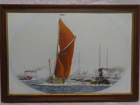 """J** Chaplin - oil on board """"Goldsmith's Barge - Servic"""" off the coast, signed and dated 1984,"""