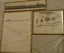 """An 18th Century black & white map and panoramic engraving """"A Sketch by Compass of the Coast of the"""