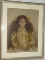 """K**N** Roberts - pastel Half length portrait of a young girl """"Purefoy Pease"""", signed and dated 1914,"""