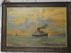 W** Hudson - oil on canvas Coastal scene with steamship, signed,