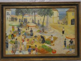 """Peter Hipkiss - oil on canvas """"Portuguese Vegetable Market"""", signed, inscribed to verso,"""