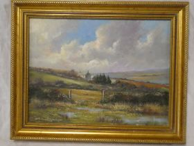Richard Blowey - oil on canvas West Cornwall landscape with cottage, signed,