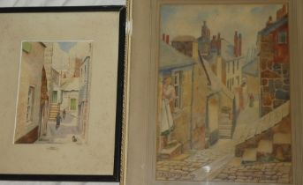Lilian Moses - watercolour Bailey Lane St Ives, Cornwall, signed and inscribed,