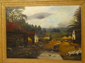 W**Napper - oil on canvas Traditional farmyard scene with animals, signed,