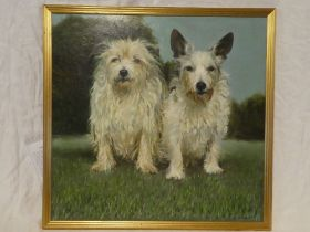 Beryl Chapple - oil on board Portrait of two long haired terriers,