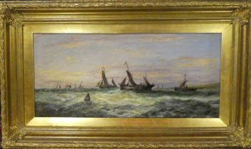 Thomas Bush Hardy - oil on board Sailing and fishing boats off the coast, signed and dated 1899,