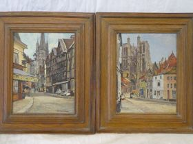 """Florence Green - oils on boards Cathedral city street scenes, one inscribed """"Abbeville"""", signed,"""
