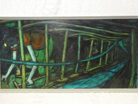 """Tom McGuinness - oil on board """"Cutter Men"""", labelled to verso,"""