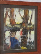 Lesley Heath - oil on board Figures paddling, signed with initials,
