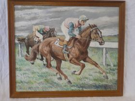 James Cliffe - oil on canvas Horse racing scene with two jockeys, signed,