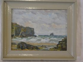 """Artist unknown - oil on board """"A Windy Day St Agnes"""", indistinctly signed,"""