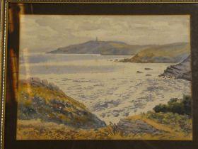 Bernard Mash - watercolour Cornish coastal scene, inscribed to verso,