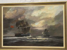 Alfred D Drew - oil on board Two sailing ships at sea, signed,