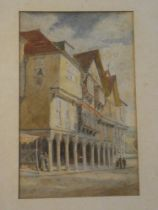 Alfred H Hart - watercolour Classical building scene with figures, signed,
