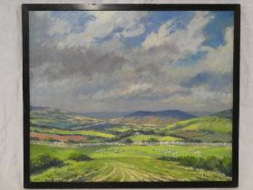 """P**H** Brown - oil on board """"The Cotswolds looking towards Cleeves Hill"""", signed, labelled to verso,"""