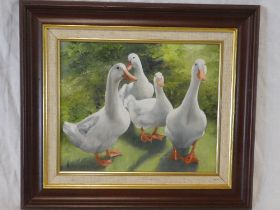 Hilary Mayes - oil on canvas Study of four ducks, signed,