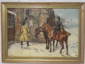 T**Hacche - oil on canvas Figures and horses outside an inn,
