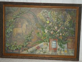Artist unknown - oil on canvas Still life interior scene,