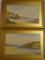 """Ernest S Old - watercolours """"The Gannel/Bishop Rock, Newquay"""", signed, labelled to verso,"""