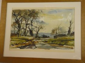 Artist Unknown - watercolour Estuary landscape, indistinctly signed,