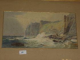 Artist unknown - watercolours Cornish coastal scenes,