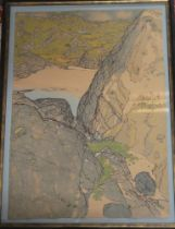 """A coloured limited edition lithograph """"Sand and Rocks, Achmeluich"""", signed in pencil Frances Walker,"""