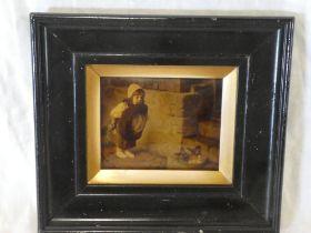 A 19th Century crystoleum depicting a young girl feeding birds,