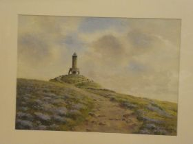 """Albert E Hurst - watercolour """"Heather Time at Darwell Tower"""", signed, labelled to verso,"""