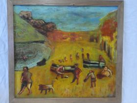 """Colin Davies - oil on board """"Beach 2 (Daymer Bay)"""", signed with initials and dated '09."""